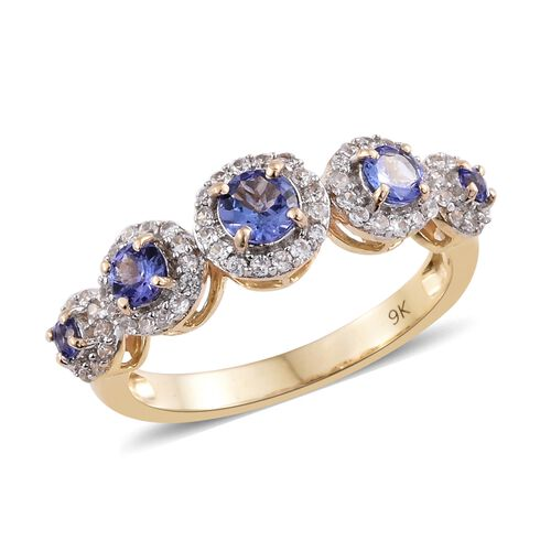 9K Yellow Gold 1.35 Ct AA Tanzanite Ring with Natural Cambodian Zircon