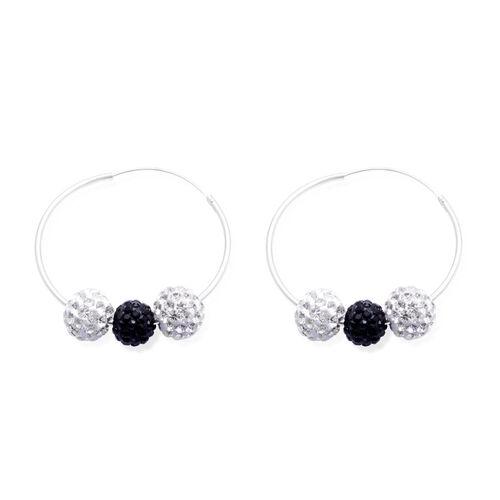 Black and White Austrian Crystal Hoop Earrings in Sterling Silver