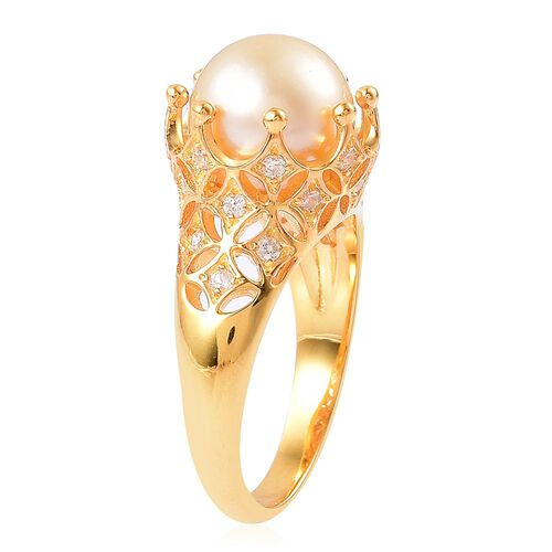 Designer Inspired - AAA South Sea Golden Pearl (Rnd 10.5 to 11 mm), White Zircon Ring in Yellow Gold Overlay Sterling Silver