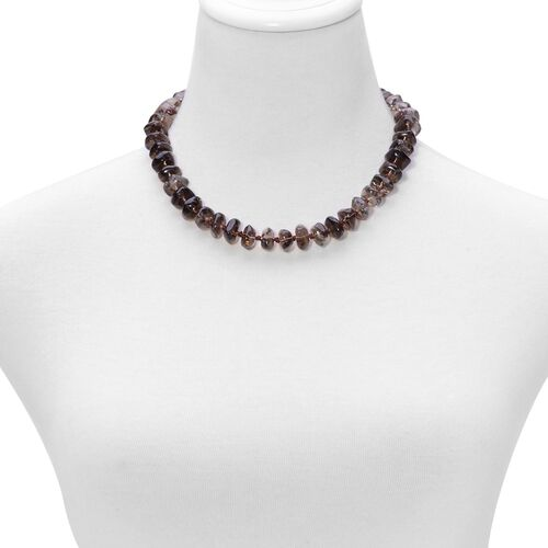 Brazilian Smoky Quartz Necklace (Size 18) in Sterling Silver 350.500  Ct.