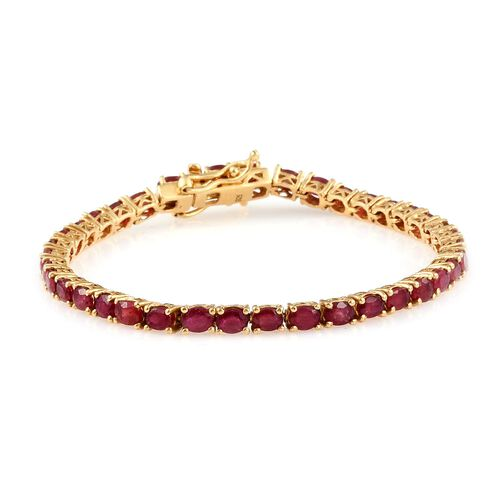 African Ruby 8.50 Ct Silver Tennis Bracelet in 14K Gold Overlay  (Size 6.5)