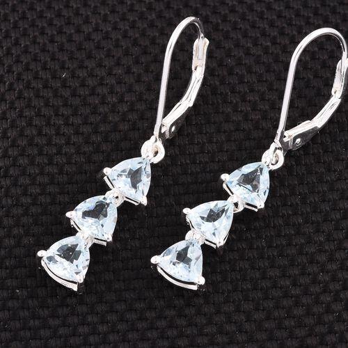 Sky Blue Topaz (Trl) Lever Back Earrings in Sterling Silver 3.000 Ct.