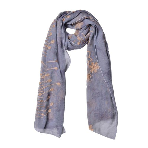 Golden Floral Embroidered Grey Colour Scarf (Size 175X70 Cm)