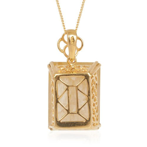Aurelia Rutilated Quartz (Oct) Pendant With Chain in 14K Gold Overlay Sterling Silver 17.000 Ct.