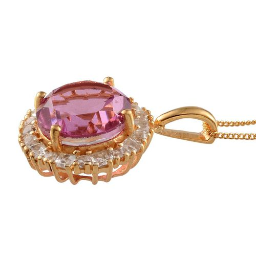 Kunzite Colour Quartz (Rnd 6.50 Ct), White Topaz Pendant with Chain in 14K Gold Overlay Sterling Silver 7.500 Ct.