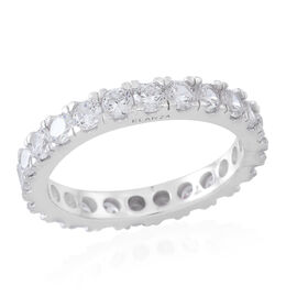 ELANZA AAA Simulated White Diamond (Rnd) Full Eternity Band Ring in Rhodium Plated Sterling Silver