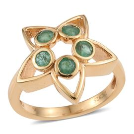 Kimberley Lotus Spice Collection - Kagem Zambian Emerald (Rnd) 5 Stone Star Ring in 14K Gold Overlay Sterling Silver