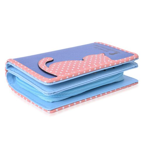 Cat Charm Metallic Blue and Pink Colour Wallet with Multiple Card Slots (Size 13X9X3 Cm)