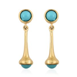 Arizona Sleeping Beauty Turquoise (Rnd) Dangle Earrings (with Push Back) in 14K Gold Overlay Sterling Silver 1.500 Ct.