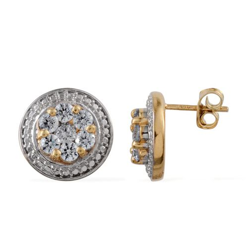 J Francis - 14K Gold Overlay Sterling Silver (Rnd) Stud Earrings (with Push Back) Made with SWAROVSKI ZIRCONIA 1.660 Ct.