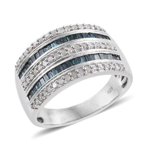Blue Diamond (Bgt), White Diamond Ring in Platinum Overlay Sterling Silver 1.000 Ct.