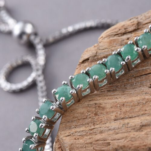 Brazilian Emerald (Rnd) Adjustable Bracelet in Platinum Overlay Sterling Silver (Size 6.5 to 8.5) 2.000 Ct.