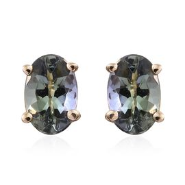 9K Yellow Gold 0.50 Ct AA Natural Green Tanzanite Solitaire Stud Earrings (with Push Back)