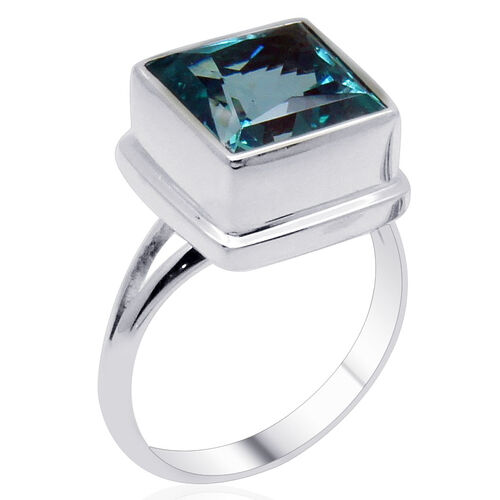 Royal Bali Collection Signity Paraiba Topaz (Sqr) Solitaire Ring in Sterling Silver 6.100 Ct.