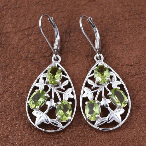 AA Hebei Peridot (Ovl) Lever Back Earrings in Platinum Overlay Sterling Silver 5.000 Ct.