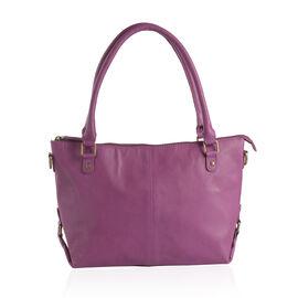 Genuine Leather RFID Blocker Purple Colour Shoulder Bag with External Zipper Pocket (Size 37X24X11 Cm)