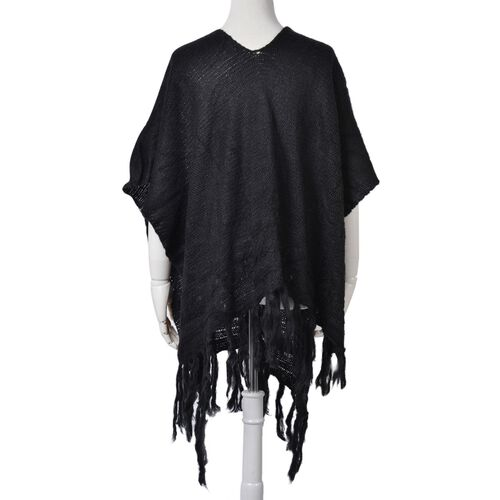 Mohair Like (Diamond Fibre) Black Colour Poncho with Tassels (Free Size)