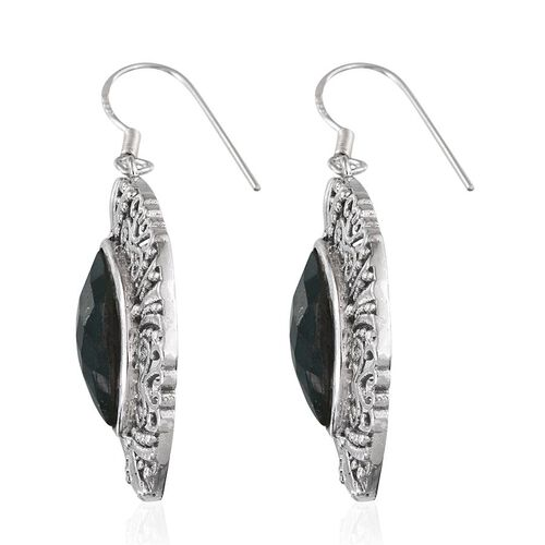 Enhanced Emerald (Mrq) Hook Earrings in Sterling Silver 13.250 Ct.