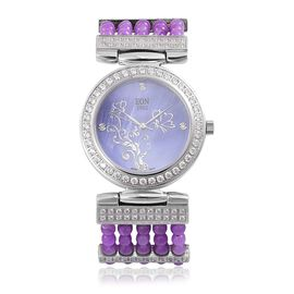 EON 1962 Swiss Movement Diamond Studded MOP Dial Watch with Simulated White Diamond in Silver Tone with Purple Jade Strap 52.360 Ct.