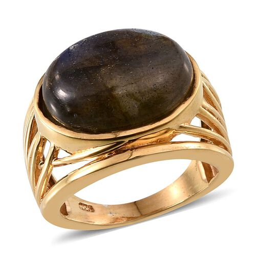 Labradorite (Ovl) Ring in 14K Gold Overlay Sterling Silver 10.000 Ct.