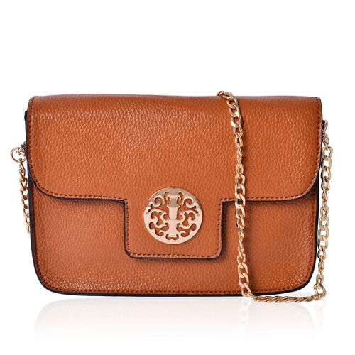 Tan Colour Crossbody Bag with Chain Strap (Size 21x14x4 Cm)