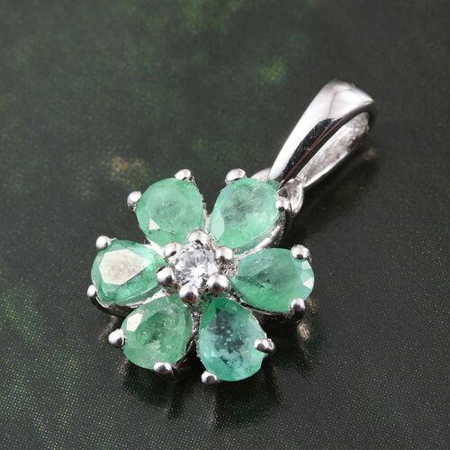 Zambian Emerald, Natural Cambodian Zircon 0.93 Ct Silver Flower Pendant in Platinum Overlay