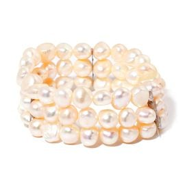 Fresh Water White Pearl 3 Strand Stretchable Bracelet in Stainless Steel (Size 7.5)