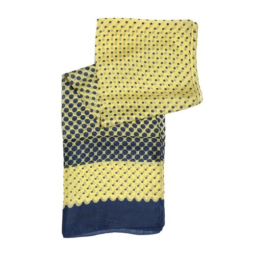100% Mulberry Silk Navy and Yellow Colour Dots Pattern Scarf (Size 180x50 Cm)