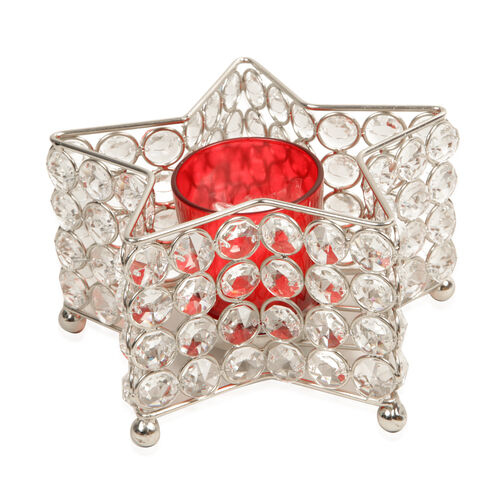 Home Decor - Austrian Crystal Star Shaped T Light Holder with LED T Light