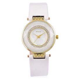 STRADA Japanese Movement White Austrian Crystals Studded White Dial Water Resistant Watch in Yellow Gold Tone with Stainless Steel Back and White Colour Strap
