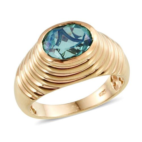 Peacock Quartz (Ovl) Solitaire Ring in 14K Gold Overlay Sterling Silver 3.000 Ct.