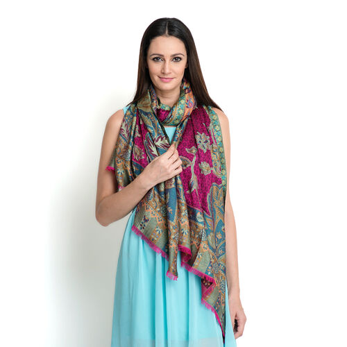 100% Superfine Modal Pink, Violet and Multi Colour Floral Pattern Jacquard Scarf (Size 190x70 Cm)