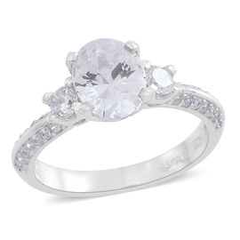 ELANZA AAA Simulated White Diamond (Ovl) Ring in Rhodium Plated Sterling Silver