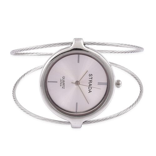STRADA Japanese Movement Silver Colour Dial Water Resistant Bangle Watch in Silver Tone with Stainless Steel Back