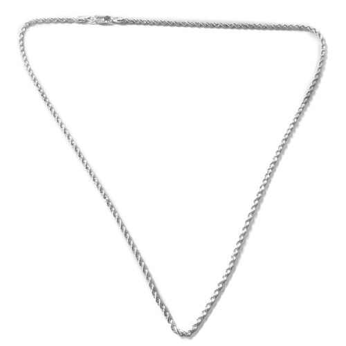 Italian Closeout - Rhodium Plated Sterling Silver Rope Necklace (Size 24), Silver wt. 12.61 Gms.