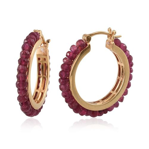 AAA Burmese Ruby (Rnd) Hoop Earrings (with Clasp) in 14K Gold Overlay Sterling Silver 22.000 Ct.