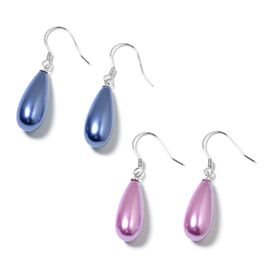 Set of 2 - Blue and Purple Shell Pearl (Drop) Hook Earrings in Rhodium Plated Sterling Silver