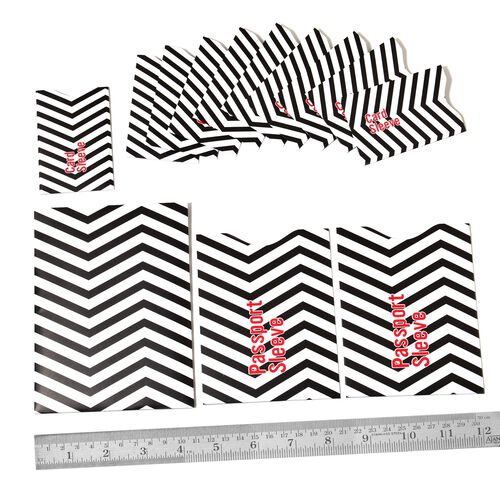 Set of 13 - Black and White Colour Wave Pattern RFID Blocker Sleeves (Ten for Credit Card, Two for Passport and One for Document)