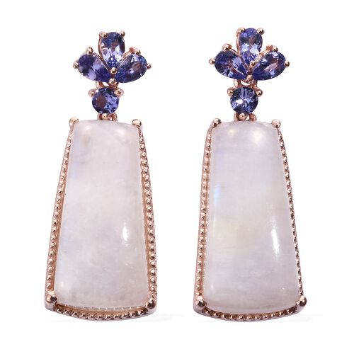 Sri Lankan Moonstone and Tanzanite Earrings (with Push Back) in Rose Gold Overlay Sterling Silver 42.000 Ct.