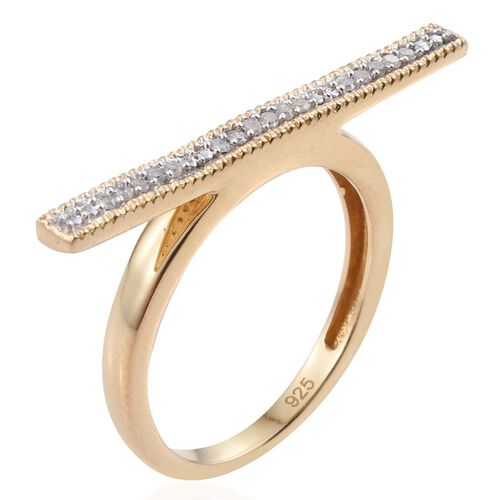 Diamond (Rnd) Bar Stacking Ring in 14K Gold Overlay Sterling Silver 0.100 Ct.