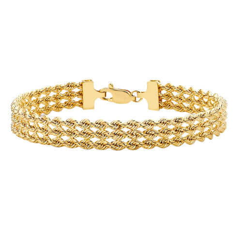 9K Yellow Gold 3 Strand Rope Bracelet (Size 7), Gold wt 5.50 Gms.