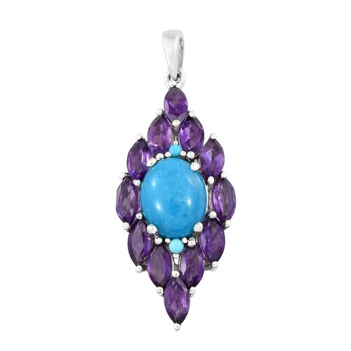 Arizona Sleeping Beauty Turquoise (Ovl 2.45 Ct), Amethyst Pendant in Platinum Overlay Sterling Silver 5.000 Ct.