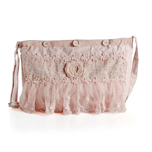 100% Cotton Floral Embroidered Light Pink Colour Shoulder Bag with Lace (Size 35x30 Cm)