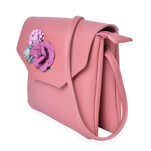 Handcrafted 3D Flowers Embellished Pink Colour Crossbody Bag (Size 19X17 Cm)