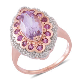 Rose De France Amethyst (Mrq 2.50 Ct), Rhodolite Garnet Ring in 14K Rose Gold Overlay Sterling Silver 3.250 Ct.