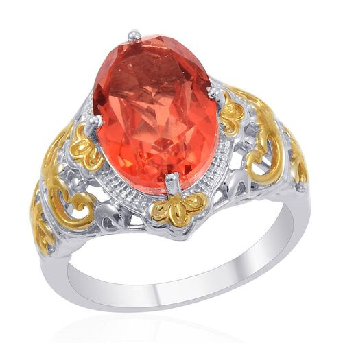 Designer Collection Sunfire Orange Doublet Quartz (Ovl) Solitaire Ring in 14K YG and Platinum Overlay Sterling Silver 5.900 Ct.