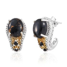 Mojave Black Turquoise (Ovl), Boi Ploi Black Spinel J Hoop Earrings (with Push Back) in Platinum and Yellow Gold Overlay Sterling Silver 7.000 Ct.