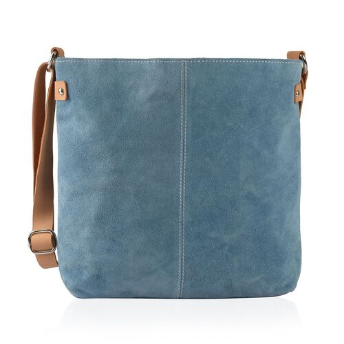 LIMITED COLLECTION 100% Genuine Leather RFID Blocker Sapphire Blue Cross Body Bag with Adjustable Shoulder Strap (Size 33.5X31X5 Cm)