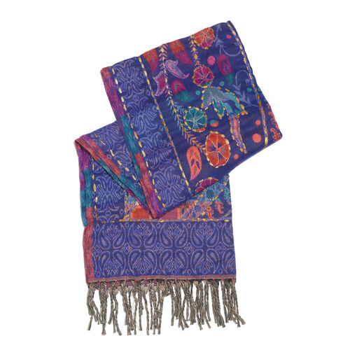 Close Out Deal - Hand Embroidered Adda Work from India - Purple, Red and Multi Colour Floral Pattern Scarf with Tassels (Size 200X67 Cm)