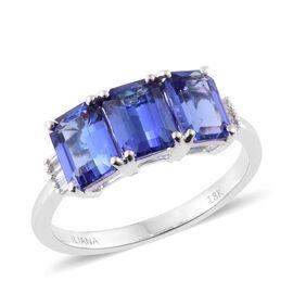 ILIANA 18K White Gold 3 Carat AAA Tanzanite Ring with Diamond SI G-H